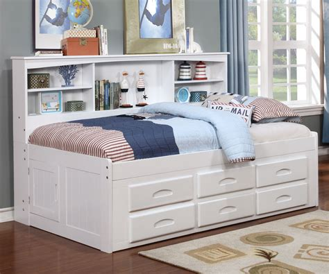 Size Captains Bed by Size Bookcase Captains Day Bed In White 0222 Day