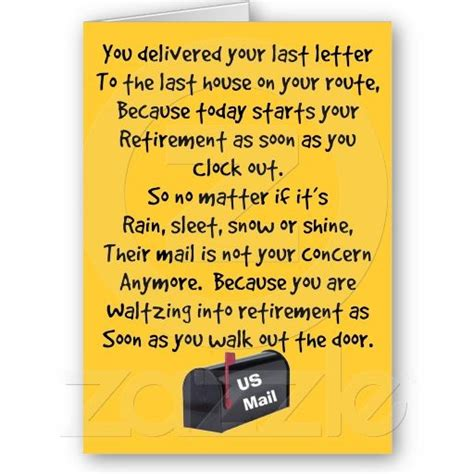 Gift For All Card Post Office - postal worker retirement poem card http www zazzle com postal worker retirement poem