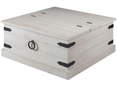 table basse rectangulaire avec coffre saraya coloris blanc