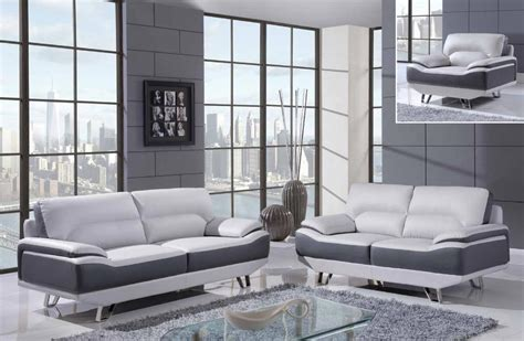 White Sofa Set Living Room White And Gray 3 Bonded Leather Sofa Set With Chrome Legs Columbus Ohio Gf7330