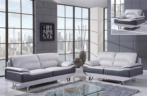 White and gray 3 piece bonded leather sofa set with chrome legs columbus ohio gf7330