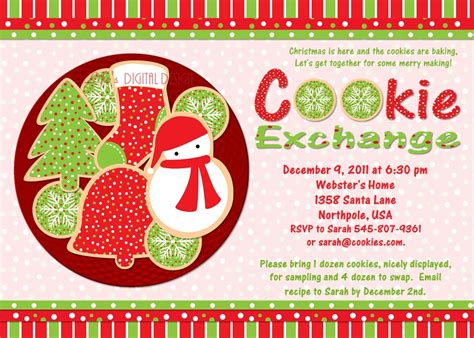 Cookie Exchange Party Invitation Customizable Printable 4x6 Or Cookie Invitations Templates