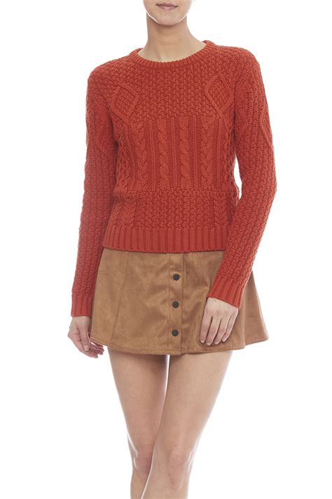 orange cable knit sweater dex orange cable knit sweater from new jersey by alba