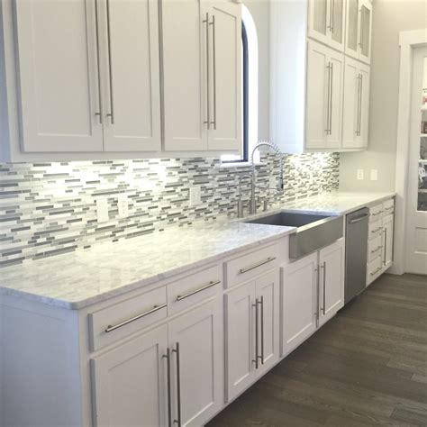 white kitchen tiles glass backsplash tile white modern brown cabinet gray