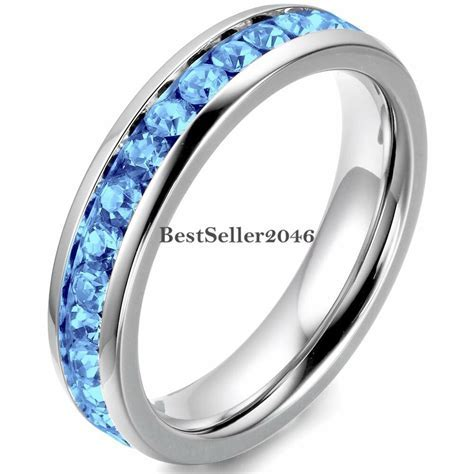 Stainless Steel Cubic Zirconia Eternity Mens Womens