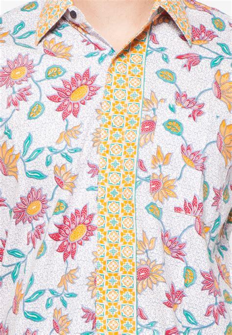 Kemeja Batik Pendek Bunga Matahari jual pomona batik kemeja lengan pendek kuning motif