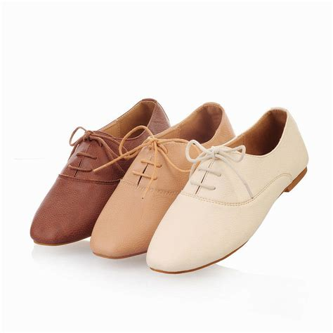 oxfords lace up flats loafers low heels retro pu leather shoes ebay