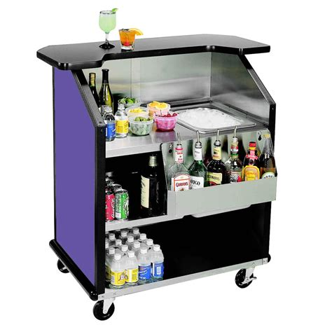 barware supplies lakeside 884 43 quot stainless steel portable bar with purple