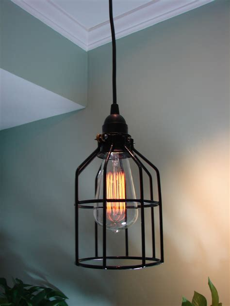 Ceiling And Wall Light Sets Vintage Interior With Cage Edison Bulb Hanging Pendant Light And Fabric Flex Cable In