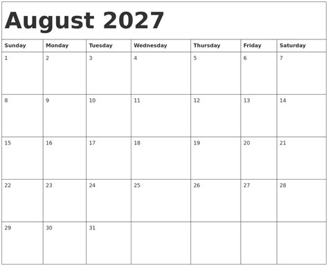 august calendar template august 2027 calendar template