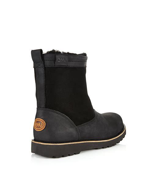 mens sheepskin boots emu s degarra black sheepskin boots designer footwear