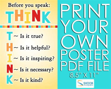 printable think poster think before you speak poster 8 5 by 11 pdf by shoobphoto