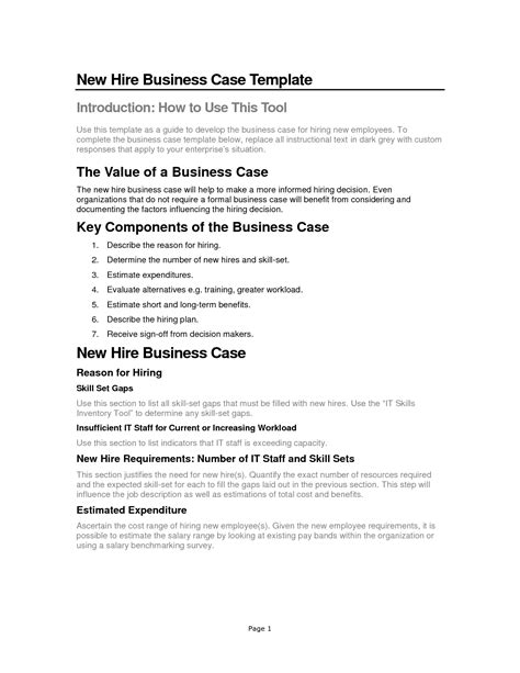 business justification template best photos of business justification business