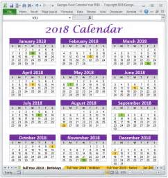 Calendar 2018 Buy 2018 Calendar Year In Excel Spreadsheet Printable