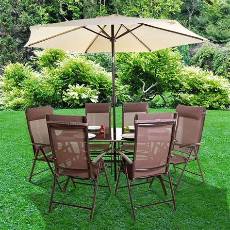 Metal Outdoor Furniture by Billyoh Comfort 6 Seater Rectangular Brown Metal Garden