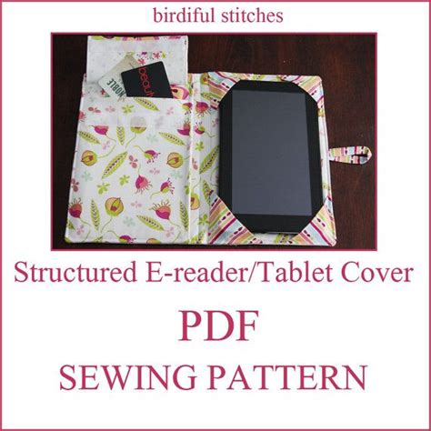 sewing pattern kindle cover instant download structured e reader tablet cover pdf