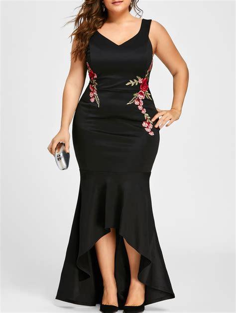 Dress Hoodie Fashion dresses black 5xl plus size v neck sleeveless fishtail dress gamiss