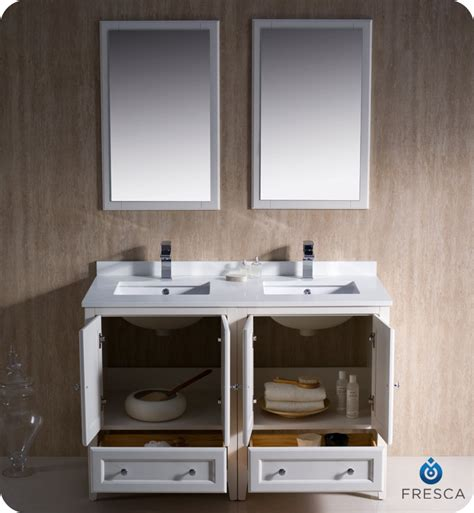 white double bathroom vanity fresca oxford collection 48 quot antique white traditional