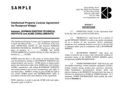 intellectual property license agreement template 18 license agreement