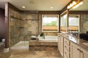 brown interior bathroom traditional with oversized