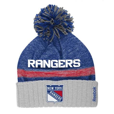 new york rangers knit hat new york rangers reebok 2014 center cuffed knit hat w pom