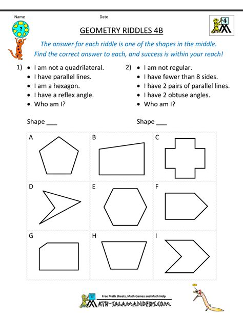 3rd Grade Geometry Worksheets by Geometry Worksheets Riddles