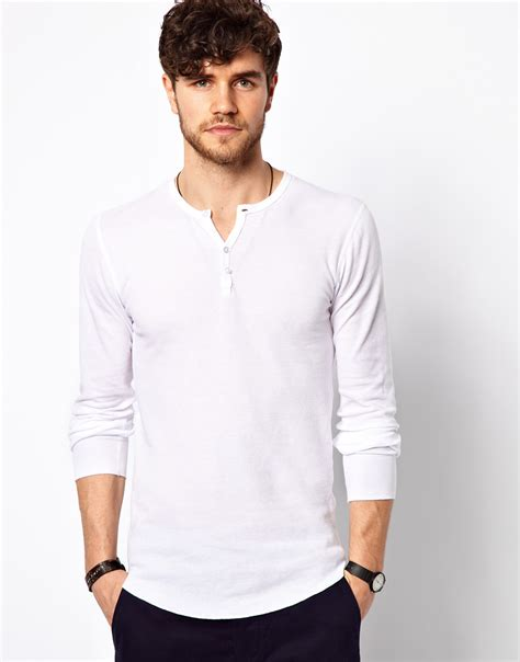 White Henley Shirt by American Apparel Henley Top In White For Lyst