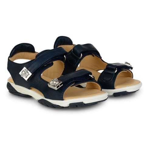 boys navy sandals versace boys navy sandals with silver medusa pendant