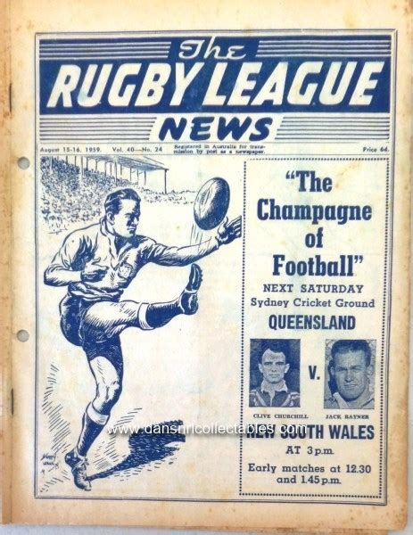 jack rayner rugby league 1959 rugby league news vol 40 no 24 st george v manly