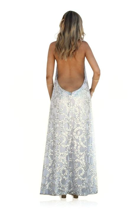 Sale Backless Chain Gown sale embellished silk secret garden silver backless halter gown the label