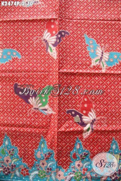 Kain Batik Kupu Kupu Mavee Batik pusat batik jual kain batik merah motif kupu kain