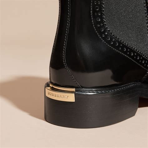 Leather Wingtip Boots leather wingtip chelsea boots in black burberry