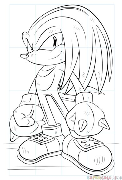 how to draw knuckles the echidna step by step drawing