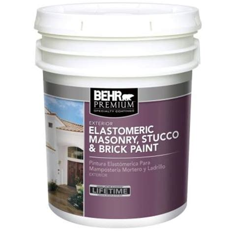 behr premium 5 gal elastomeric masonry stucco and brick paint 06805 the home depot