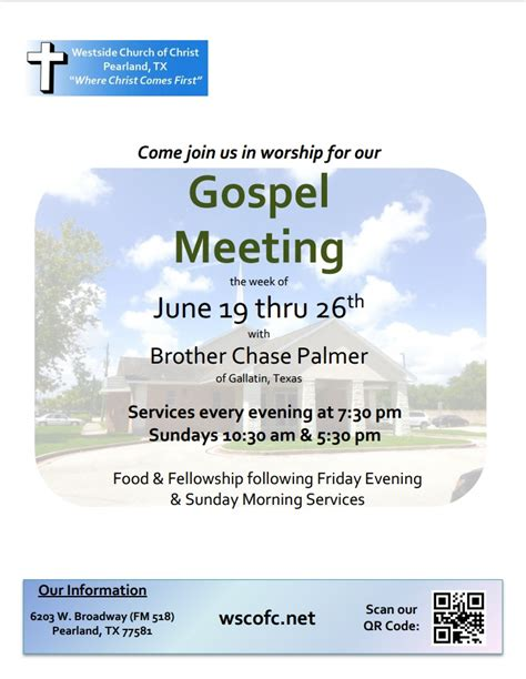 gospel meeting flyer template you are invited to a gospel meeting at the westside church of gulf coast churches of