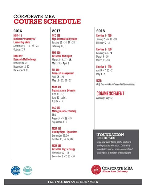 Illinois State Mba by Cmba Course Schedule 2010 2012 College Of Business
