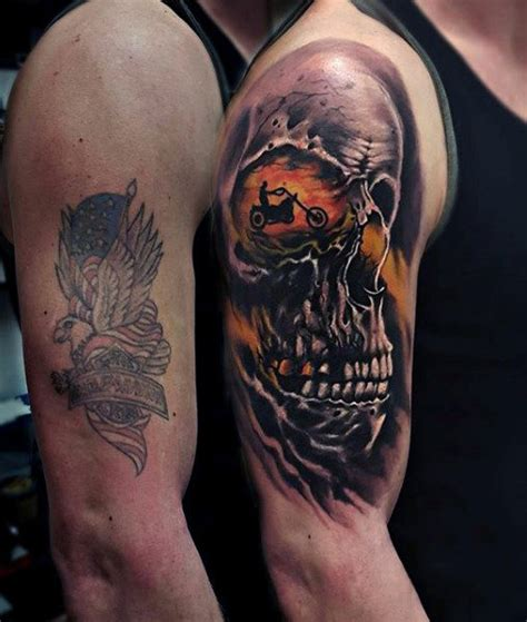 harley davidson skull tattoo designs skull motorcycle rider harley davidson arm tattoos for