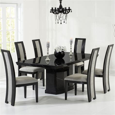 Black Marble Dining Table Set Como 2m 7 Marble Dining Table Set Brown Or Black Mhf Como Dt 200 7set 163 1 870 00 F