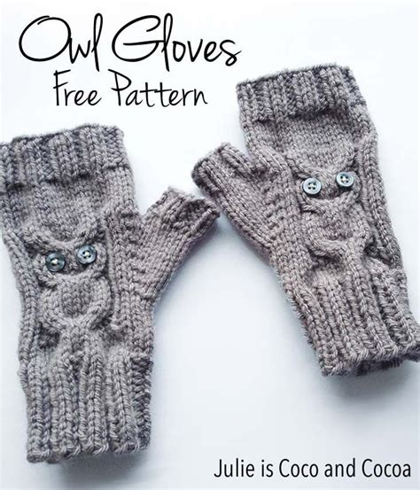 owl fingerless gloves knitting pattern owl gloves knit pattern cocoa owl and infos