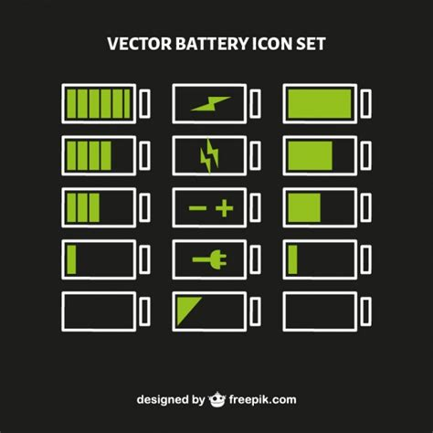 color battery battery level icon set vector free