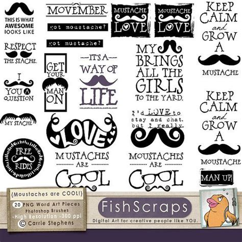printable photo booth quotes 75 sale mustache word art hipster clipart moustache