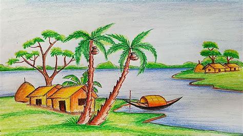 draw  village scenery step  step  easy