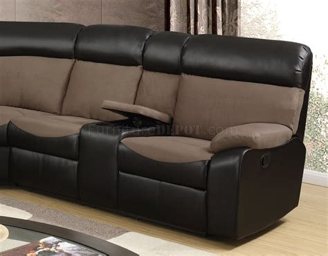 u1399 motion sectional sofa in brown fabric pu by global