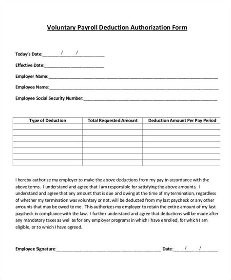 Agreement Letter For Deduction From Salary Payroll Deduction Form Template 9 Free Sle Exle Format Free Premium Templates