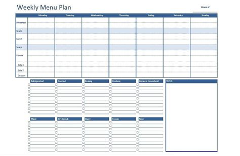 free excel weekly menu plan template dowload