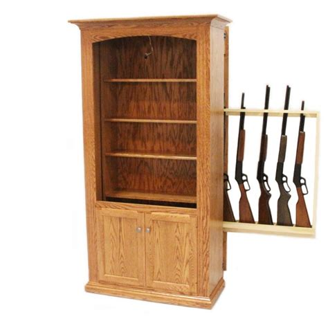 bookcase with storage cabinet gun storage bookcase amish gun cabinet oak