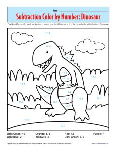 subtraction coloring pages for kindergarten subtraction color by number dinosaur kindergarten 1st