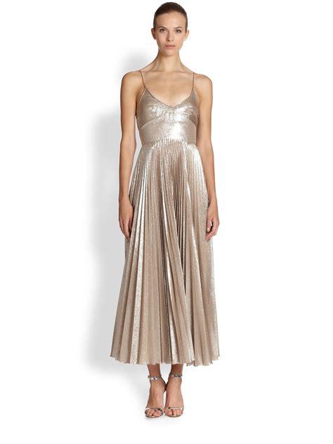 Metallic Dresses by Lyst Rochas Metallic Silk Plisse Dress In Metallic