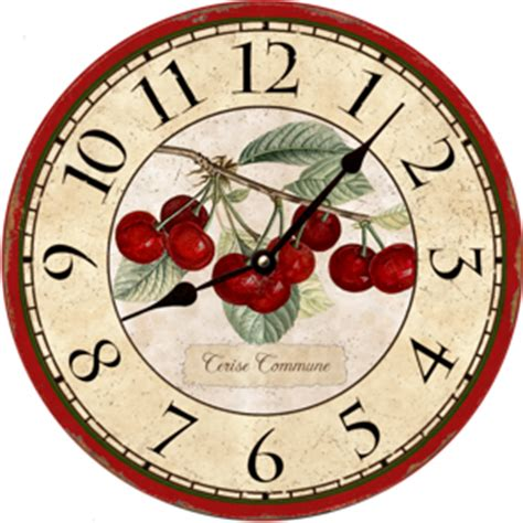 Home Decor Wholesale Market by French Botanical Cherries Kitchen Wall Clock