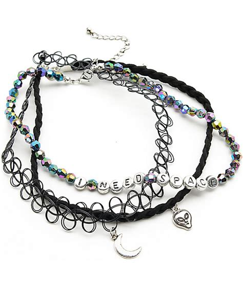 Exclusive Color Of Tatto Choker locket beaded choker necklaces zumiez